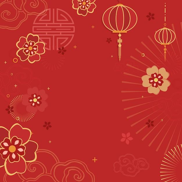 Illustrazione di mockup di nuovo anno cinese Vettore gratuito