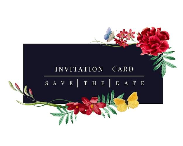 Illustrazione di mockup scheda floreale dell'invito Vettore gratuito