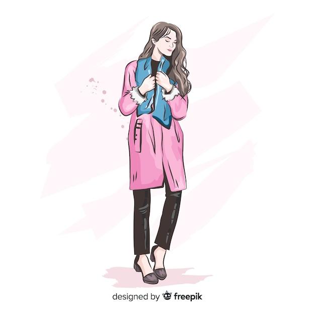 Illustrazione di moda con modello femminile Vettore gratuito