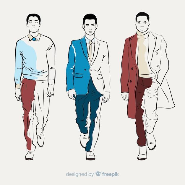 Illustrazione di moda con modello maschile Vettore gratuito