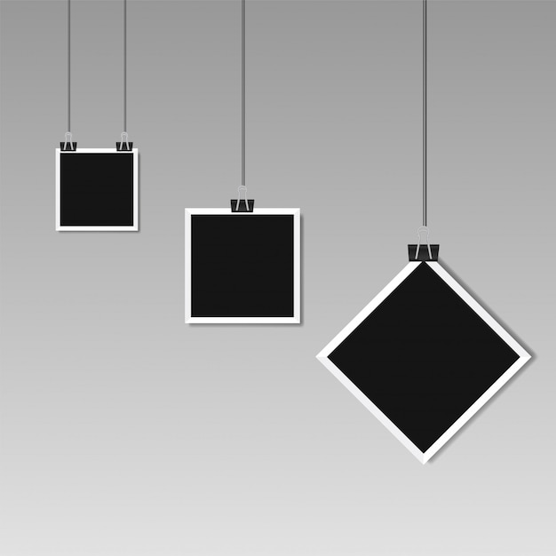 Illustrazione di modelli di cornice su sfondo trasparente per le foto Vettore Premium