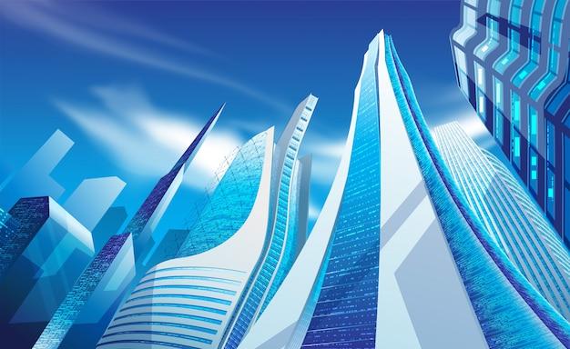 Illustrazione di moderni grattacieli Vettore Premium