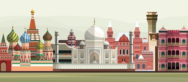 Illustrazione di monumenti famosi del mondo Vettore gratuito