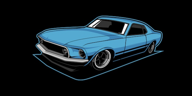Illustrazione di muscle car Vettore Premium