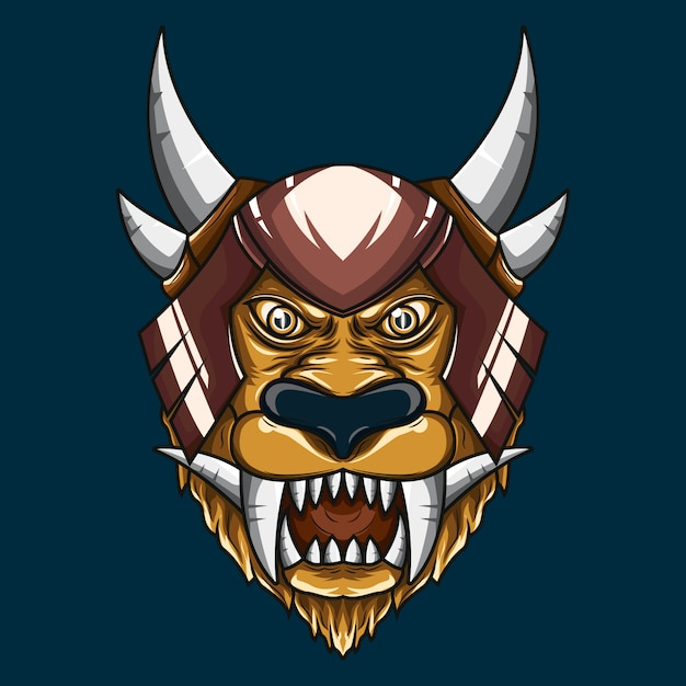 Illustrazione di mythical lion demon head Vettore Premium