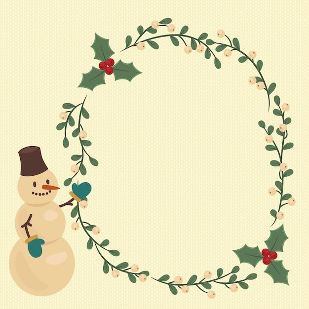 Illustrazione di natale con la corona di bacche e pupazzo di neve Vettore Premium