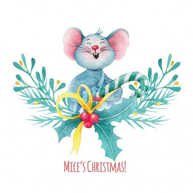 Illustrazione di natale dell'acquerello del topo sveglio con le decorazioni delle bacche di agrifoglio Vettore Premium