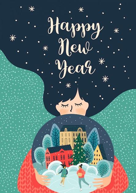 Illustrazione di natale e felice anno nuovo con donna carina. Vettore Premium