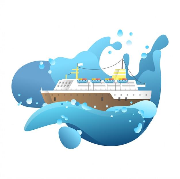 Illustrazione di nave drammatica Vettore Premium