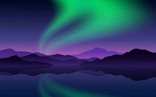 Illustrazione di notte con montagna e aurora Vettore Premium