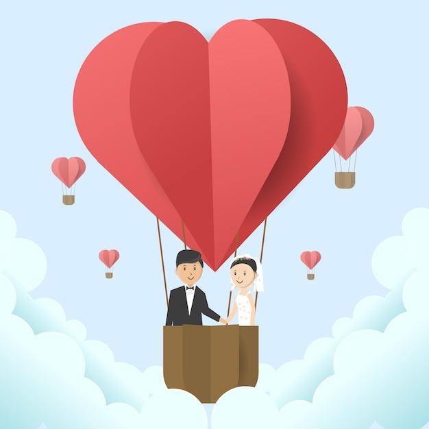 Illustrazione di nozze con il focolare dell'aerostato di aria calda a forma di Vettore Premium