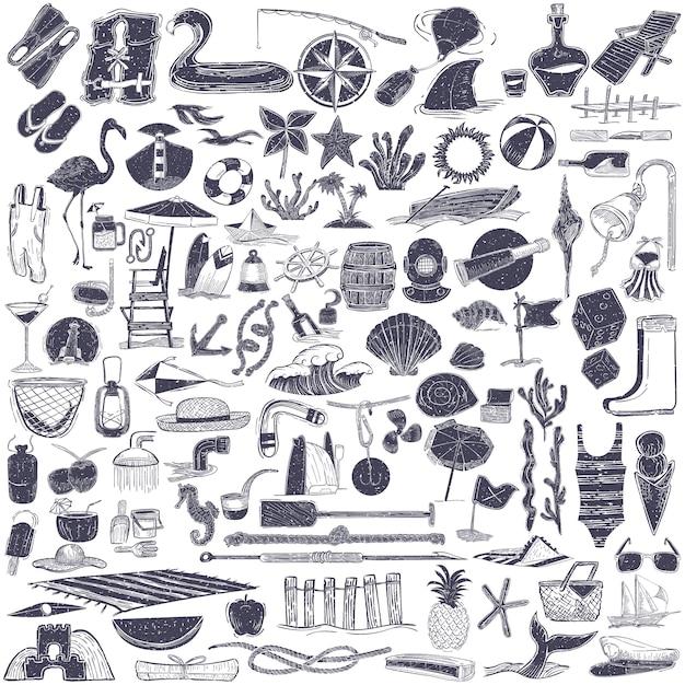 Illustrazione di oggetti estate e spiaggia Vettore gratuito