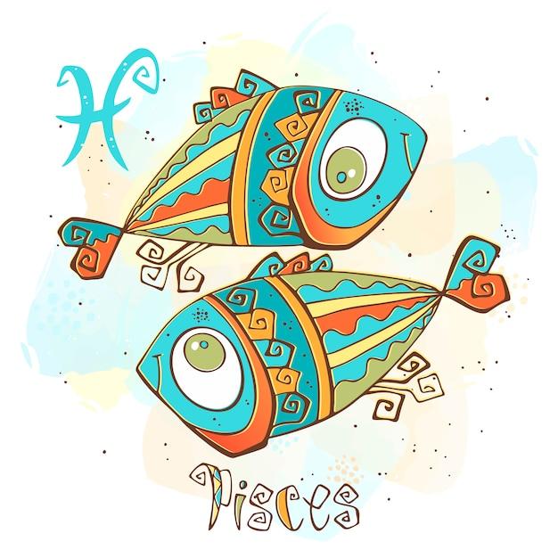 Illustrazione di oroscopo per bambini. zodiac per bambini. segno di pesci Vettore Premium