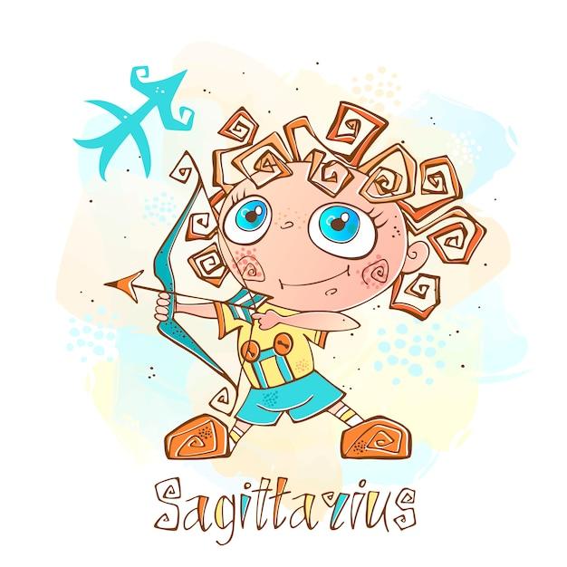 Illustrazione di oroscopo per bambini. zodiac per bambini. segno sagittario Vettore Premium