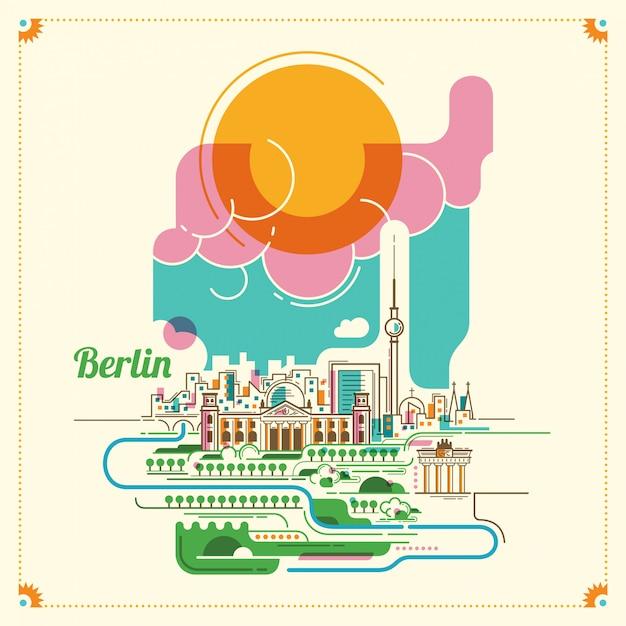 Illustrazione di paesaggio di berlino Vettore Premium