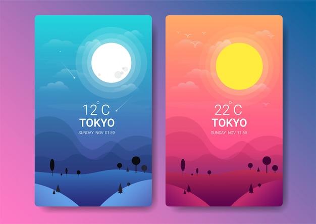 Illustrazione di paesaggio di giorno e di notte Vettore Premium