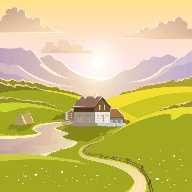 Illustrazione di paesaggio di montagna Vettore gratuito