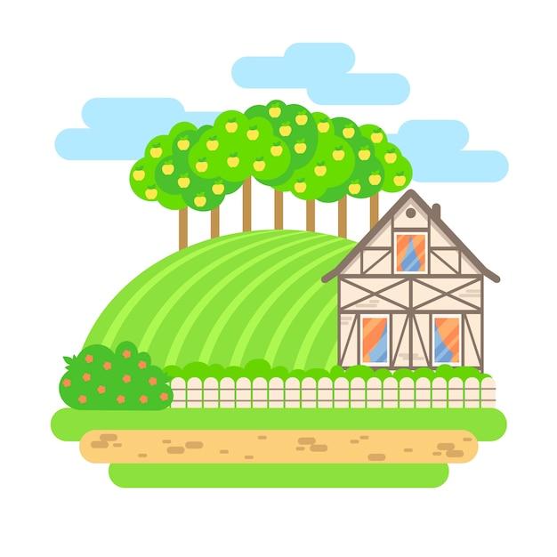 Illustrazione di paesaggio di vettore design piatto. casa di paese con campi e meli. agricoltura, agricoltura, concetto di prodotti biologici. Vettore Premium