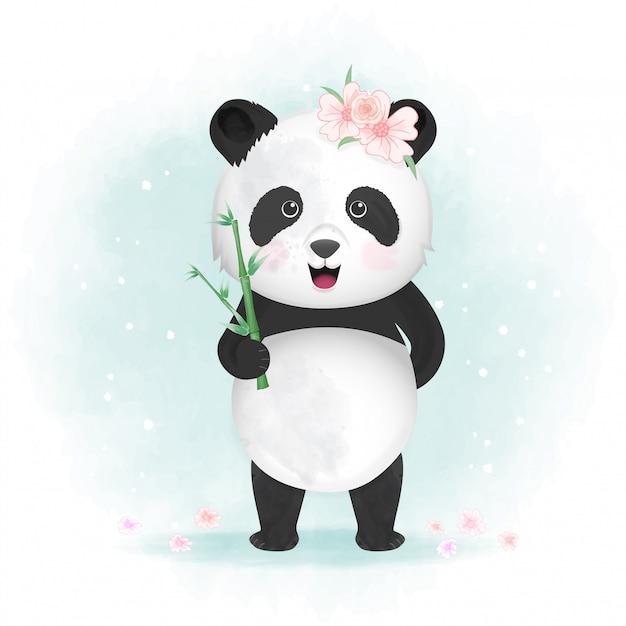 Illustrazione di panda carino Vettore Premium