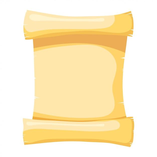 Illustrazione di papiro oggetto isolato stile cartone animato astratto papiro giallo, un rotolo di pergamena Vettore Premium
