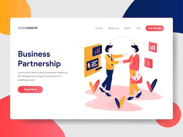 Illustrazione di partnership commerciale per la pagina web Vettore Premium