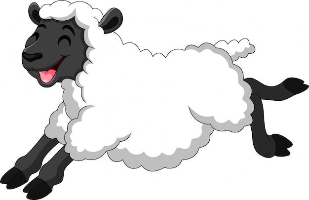Illustrazione di pecore simpatico cartone animato Vettore Premium