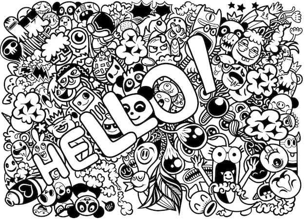 Illustrazione di personaggi doodle disegnato a mano con la parola Vettore Premium