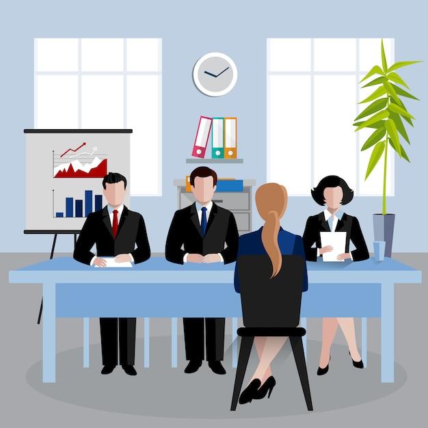 Illustrazione di personaggi isometrici, risorse umane facendo intervista Vettore gratuito