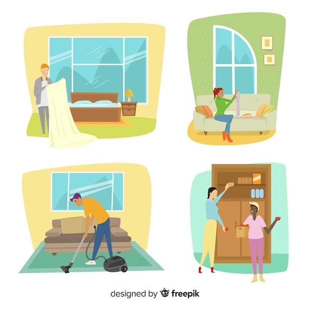 Illustrazione di personaggi minimalisti che fanno i lavori domestici Vettore gratuito