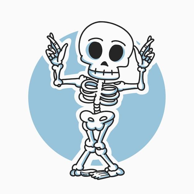 Illustrazione di personaggio dei cartoni animati di danza scheletro Vettore Premium