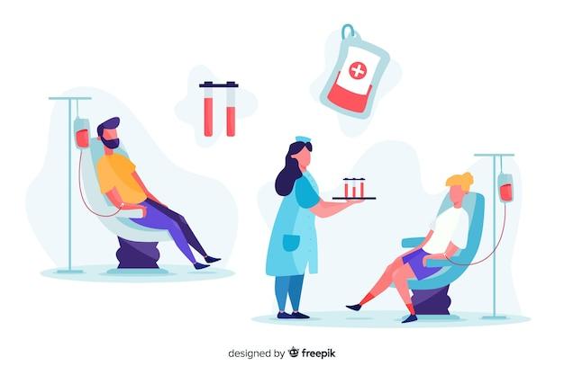 Illustrazione di persone che donano sangue Vettore gratuito