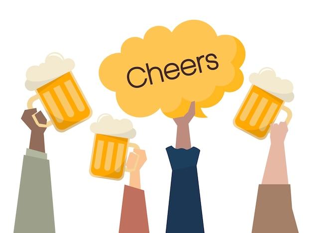 Illustrazione di persone che hanno birre Vettore gratuito