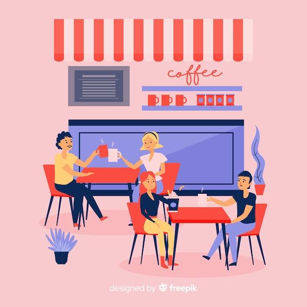 Illustrazione di persone sedute in un caffè Vettore gratuito