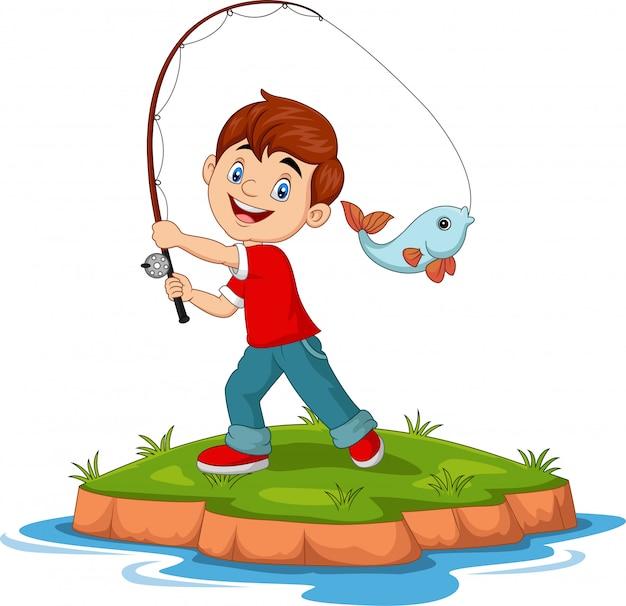 Illustrazione di pesca felice del ragazzo del fumetto Vettore Premium