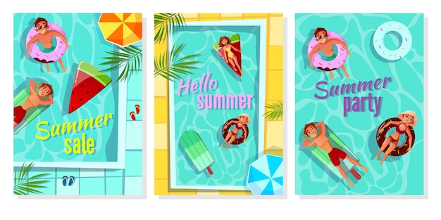 Illustrazione di piscina estiva per poster vendita negozio, invito a una festa e ciao saluto estivo Vettore gratuito