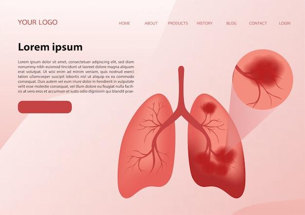 Illustrazione di polmoni in modo molto professionale Vettore Premium