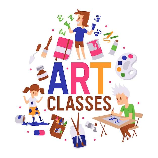 Illustrazione di poster di classi d'arte. ragazza e ragazzi che disegnano, dipingono, schizzano su con l'attrezzatura. istruzione, concetto di divertimento. Vettore Premium