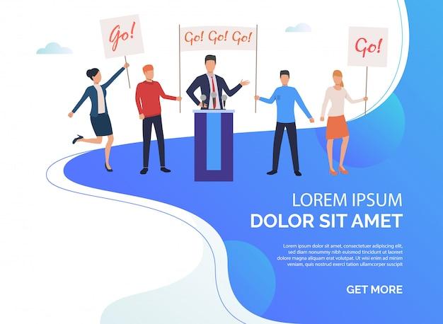 Illustrazione di presentazione della campagna elettorale Vettore gratuito