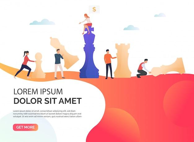 Illustrazione di presentazione di strategia aziendale arancione Vettore gratuito