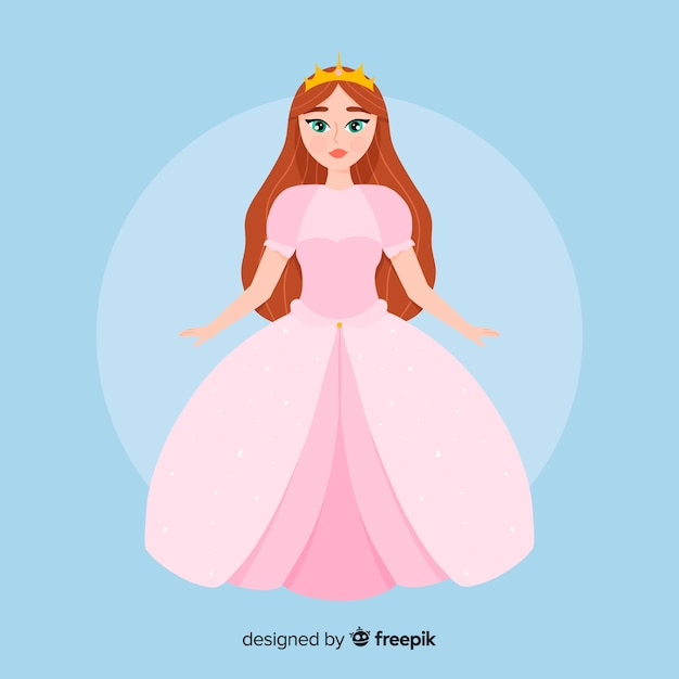 Illustrazione di principessa di colore pastello piatta Vettore gratuito