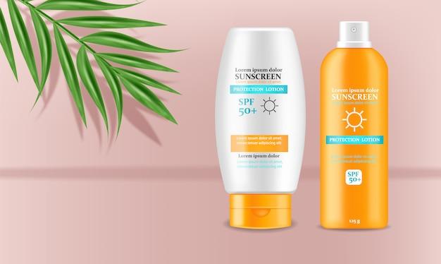Illustrazione di progettazione 3d della crema della protezione solare Vettore Premium