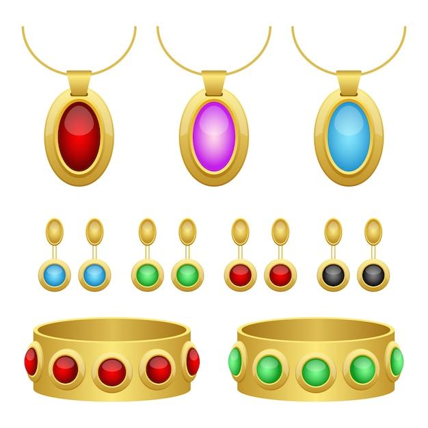 Illustrazione di progettazione dei gioielli isolata su fondo bianco Vettore Premium