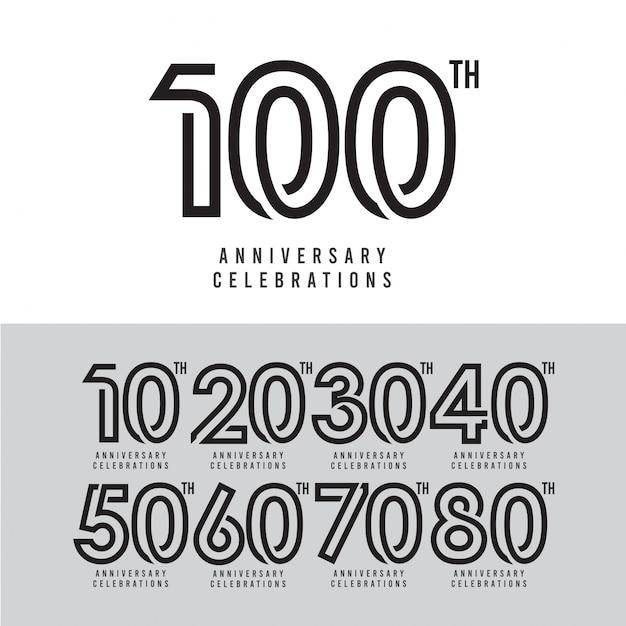 Illustrazione di progettazione del modello di vettore di celebrazione di centesimo anniversario Vettore Premium