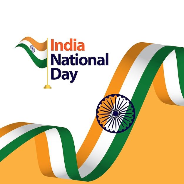 Illustrazione di progettazione del modello di vettore di festa nazionale dell'india Vettore Premium