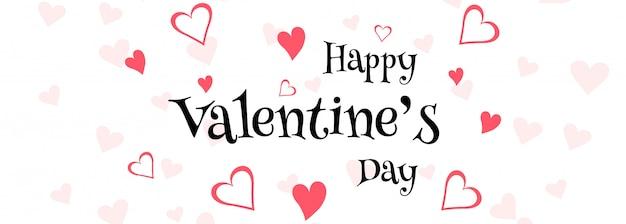 Illustrazione di progettazione dell'intestazione della carta di amore di san valentino felice Vettore gratuito