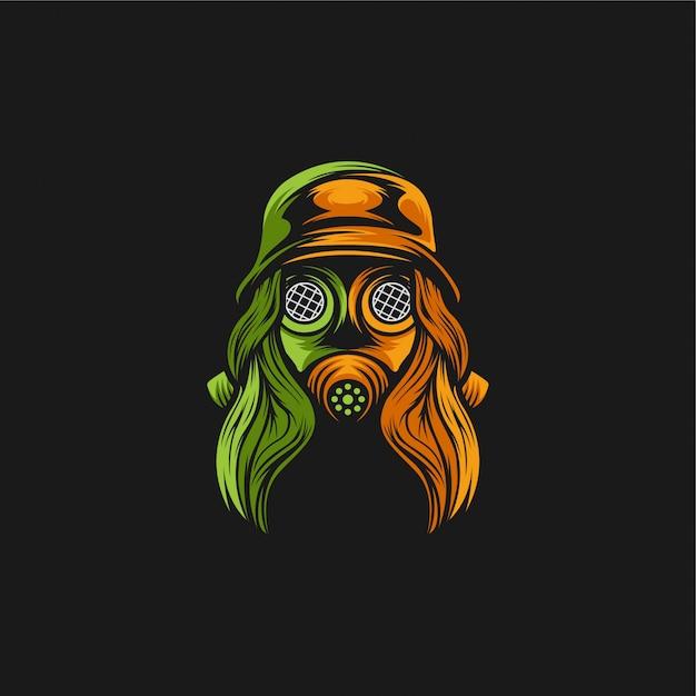 Illustrazione di progettazione di logo della maschera antigas della ragazza Vettore Premium