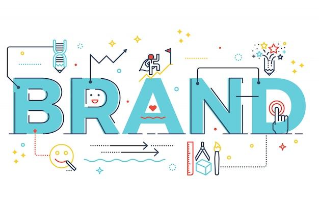 Illustrazione di progettazione di tipografia dell'iscrizione di parola di marca con la linea icone Vettore Premium