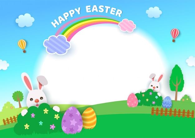 Illustrazione di progettazione felice di festival di pasqua con i conigli e le uova sul backgroud della natura Vettore Premium
