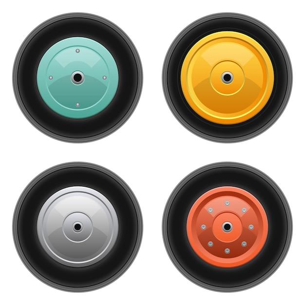 Illustrazione di progettazione stabilita della ruota del carrello isolata su fondo bianco Vettore Premium