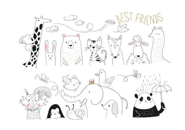 Illustrazione di raccolta di amici animali Vettore Premium